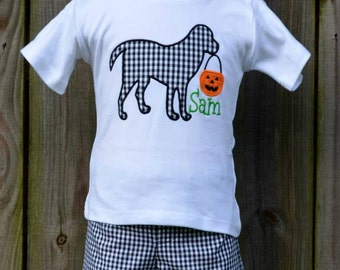 Personalized Dog with Pumpkin Applique Shirt or Onesie for Boy or Girl