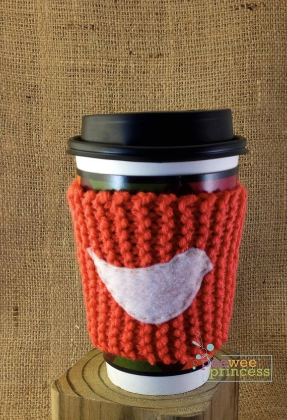 Coffee Cup Cozy in tangerine with Bird