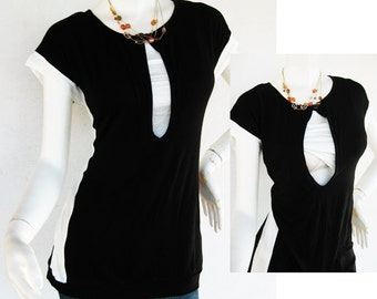 Retro Maternity Clothes / Nursing Top / Breastfeeding Top / NEW Original Design BLACK / Nursing Tops for Breastfeeding