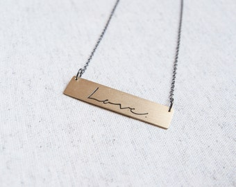 LOVE bar necklace. Handmade of brass. Choose color of the chain. Statement necklace. Perfect Valentines day gift