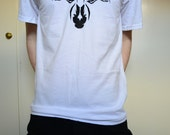 Men's White V-Neck Shirt with Black Hand Printed Zebra Design - HairyGhost
