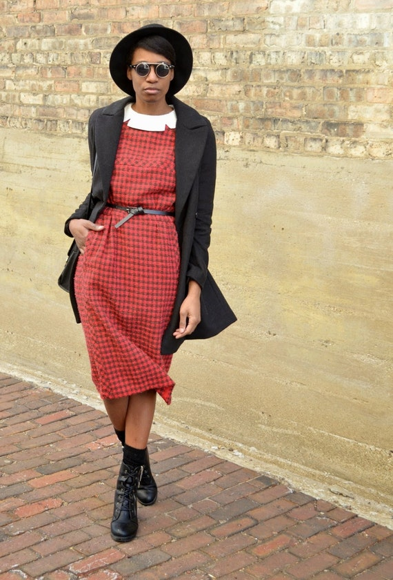 RESERVED --- Vintage Lanvin (Paris) 40s 50s Red & Black Plaid Maxi Dress (Size Small or Medium)