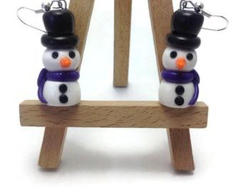 Christmas Earrings, Fun Earrings, Snowman, Winter Earrings, Polymer Clay Jewelry, Kawaii Jewelry, Cute Gift, Holiday Earrings