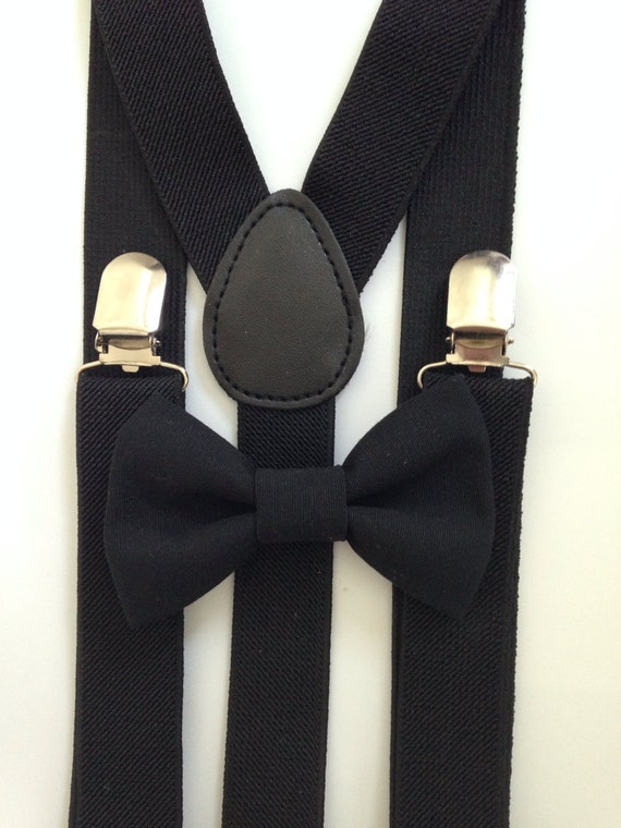 Black Suspenders and Black Bow Tie