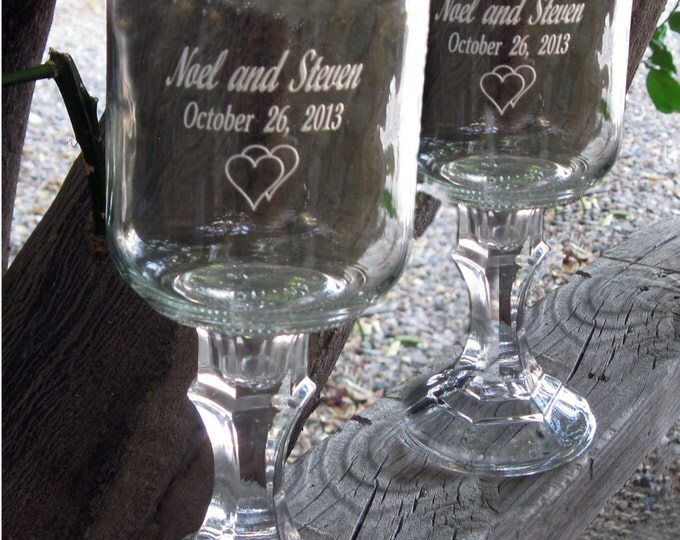Redneck  Wine Glasses -   2 Engraved  - 16 OZ - Personalized - aka Hillbilly Wine Glasses - Wedding -Anniversary - Mason Jar
