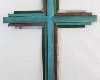 "OKLAHOMA  CROSS - Large Wooden Rustic Cross   33"" tall, multi color"