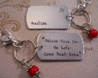 Personalized Hand Stamped Key Chain - New Driver, Teenager, Graduate