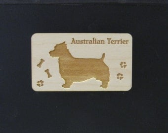 Original Design Australian Terrier Wood Magnet
