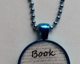 Book Geek Blue Cameo Necklace
