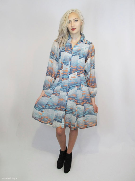 On holdvery unique blue fish print dress saks by arcanevintage for Fish print dress