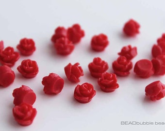 7.5mm Tiny Red Resin Rose Flower Flat Back Cabochons Pack of 20 (CAB312)