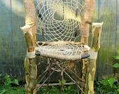 Custom Dream Catcher Chair - Handmade & Recycled Tree Limb Furniture - Rustic Chair - Tree Branch Furniture