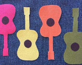 Iron On  GUITAR Patches - No Sew DIY Applique for Jeans, T-shirts, Sweaters