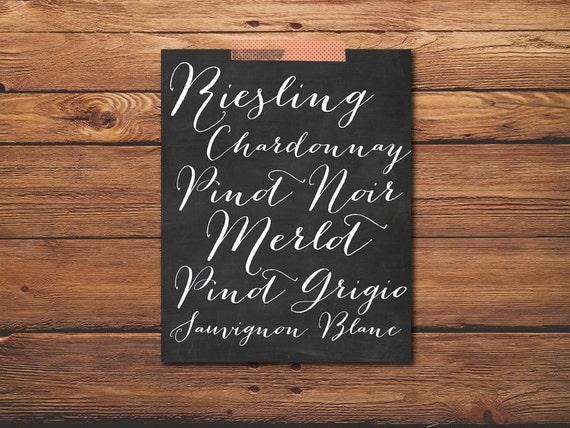 Wine names print wine list art wine print by puffpaperco for Wine chalkboard art
