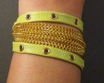 Green Apple Leather Wrap Around Bracelet with Gold Elements