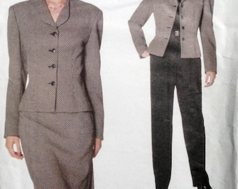 Anne Klein Jacket, Skirt and Pants Pattern 1990s Vogue 2047 BUST 31.5-32.5-34 UNCUT