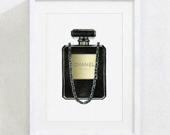 ART PRINT of Perfume Bottle Shaped Clutch Bag Original Watercolor Painting Fashion Illustration Wall Home Decor