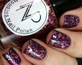 Autumn Berry-Burgundy, Pink, Gold Glitter Indie Nail Polish by Noodles Nail Polish