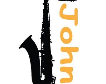 Saxophone Decal with Name - custom
