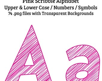 Scribble Alphabet Pink Clip Art 74 Uppercase, Lowercase Letters, Numbers, Symbols High Quality Tansparent PNG Digital Elements (Not Font)
