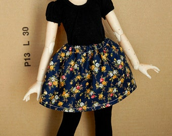 BJD MSD Skirt [Royal Blue with Flowers]