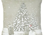 Christmas Tree Design Cushion Cover Xmas Winter Wonderland Printed Throw Pillow Case Cotton Material