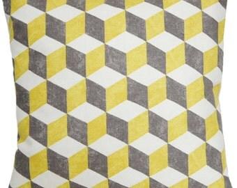 Yellow Cushion Cover Pillow Throw Case Fabric Osborne & Little Cotton Printed Textile Balyan Cubes Grey White Square