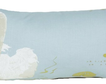 Swan Small Decorative Throw Pillow With Inner Blue Cushion Printed Bird Textile by Nina Campbell Cotton Fabric