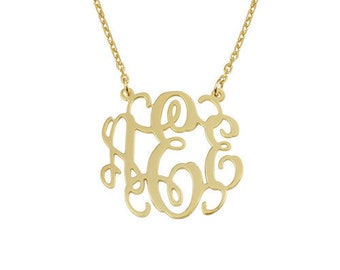 18k gold monogram necklace,14 inch chain,16 inch,18 inch,20 inch,Personalized Monogram necklace