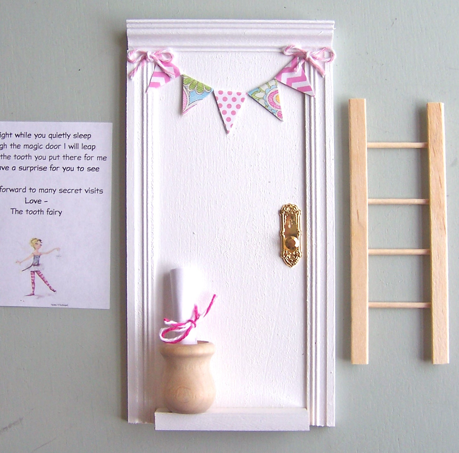 White tooth fairy door with paper chevron banner handmade for White fairy door