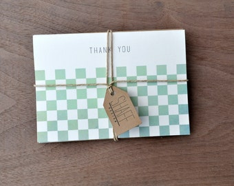 Rustic checkerboard thank you cards - Geometric Pastel thank you card set - Mint yellow note cards