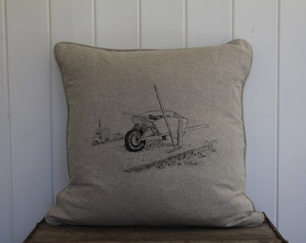 Natural Linen Hand Printed Cushion with  Wheel Barrow Scene