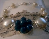 Vintage Recrafted Earring Bracelet, Faux pearl.