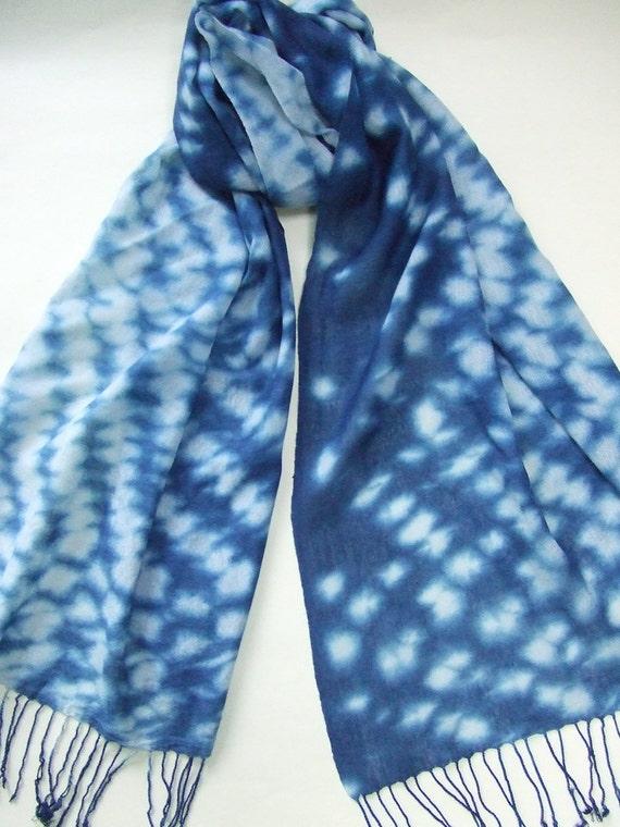 dyed indigo scarf japanese indigo shibori wool and