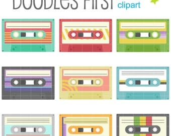 Funky Cassette Tapes Digital Clip Art for Scrapbooking Card Making Cupcake Toppers Paper Crafts