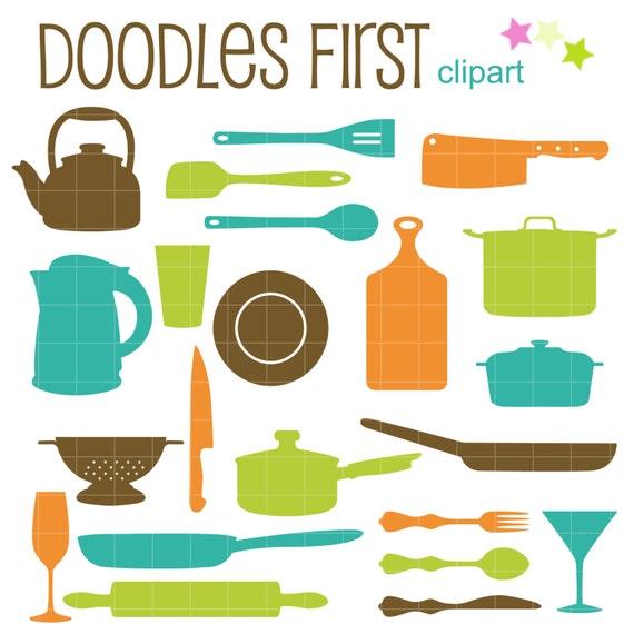 Cucina utensili sagome digital clipart per fare carta - Elenco utensili da cucina ...