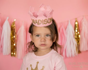 New Name Birthday Felt Crown | Felt Crown | Birthday Crown | 1st Birthday | Photo Prop | Photography prop | Baby Birthday