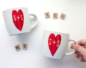 Custom couple mugs / Customized Couple Initials Gift / Personalized Wedding Gift / Custom Couple Gifts / Personalized Handmade Gift for Them