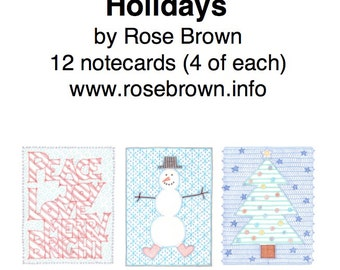 Pack of 12 Notecards: Holidays