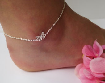 Sterling Silver Butterfly Anklet/Cubic Zirconia Accents/Butterfly Anklet for Women/Woman's Anklet/Nature Jewelry/Body Jewelry/Ankle Bracelet