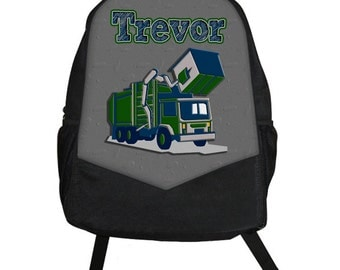 Personalized kids backpack - Monogram kids backpack - garbage truck graphic design - boys canvas backpack