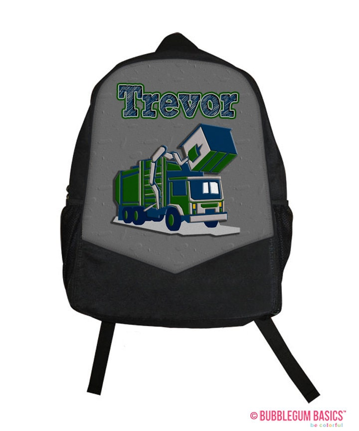 Personalized kids backpack Monogram kids backpack garbage