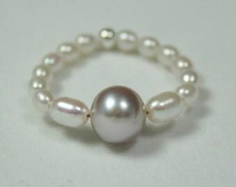 Lavender Pearl Eternity Ring