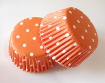 Mini Orange White Polka Dot Cupcake Liners (50)