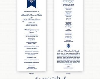 Ships Wheel Wedding Programs, Nautical, Preppy Wedding Ceremony, Navy Blue Ship Wheel Monogram Wedding Programs, Order of service