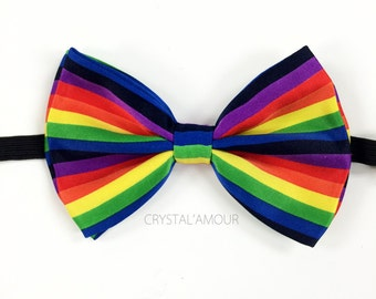 Rainbow Flag Bowtie - Rainbow Bow Tie - Rainbow Stripes - Adjustable Strap - Rainbow Pattern Unisex Bowtie