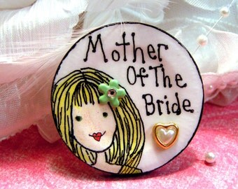 Mother Of The Bride Pin With A Tiny Pearl Heart Embellishment,Character Pin For Bride's Mom,Bridal Party Pin,Rehearsal Party Pin