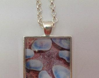 Watercolour Pendant, Necklace, Beach Rocks Sand, Art Jewellery, Mothers day