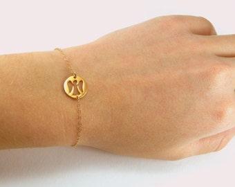 Angel bracelet, guardian angel, small angel charm, gold bracelet, gold angel, protection bracelet, baptism gift, personal guardian angel 085