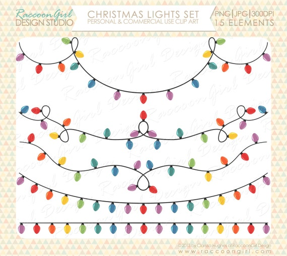 Hanging String Lights Clipart Christmas Clip Art SetHanging